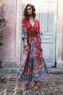 NWT Spell & The Gypsy Red Lotus Kimono Gown Duster Dress Sz M
