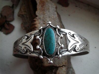Stunning Stone Old Harvey Tourist Cuff Navajo  Heavy Stamping Sterling Silver