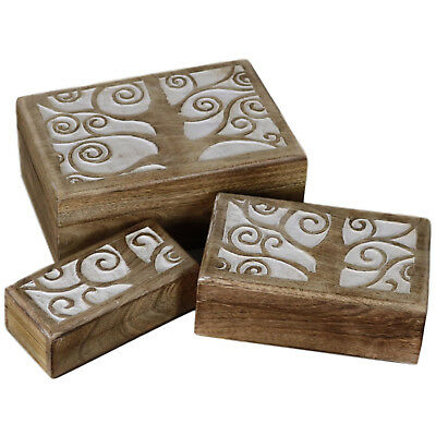 Set of 3 Tree of Life Wooden Boxes Wood Rustic Box Antique White RB-01