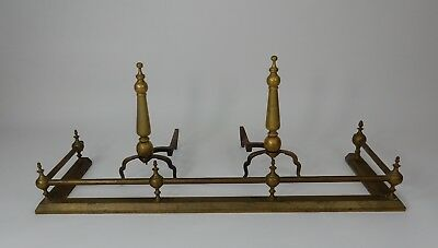 American Federal Style Tall Fireplace Andirons and Fender Set 17.5 inches