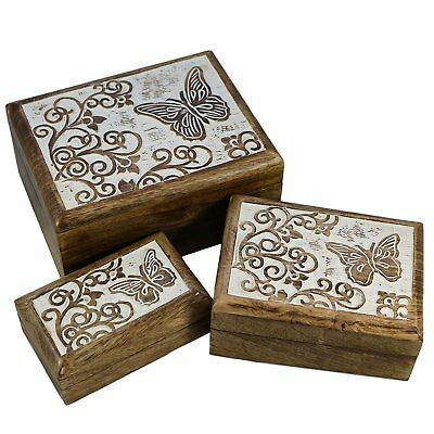 Set of 3 Butterfly Wooden Boxes Wood Rustic Vintage Decor Decorative Box