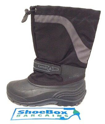 Kamik Youth, Boys Waterproof Black Rubber, Nylon Boots Size 4