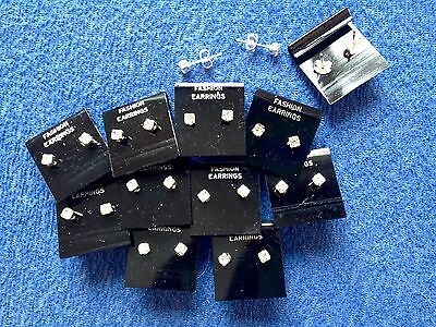 JOB LOT-10 pairs of 0.45cm crystal diamonte stud earrings.Silver plated.UK made.