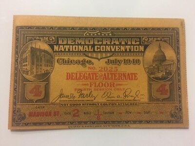 1940 Democratic National Convention Delegate Ticket Pass Franklin Roosevelt FDR