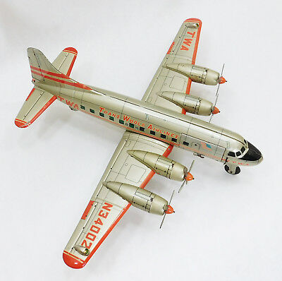 1950's LINEMAR TWA TRANS WORLD AIRLINES DC-6 AIRPLANE FRICTION & B/O TIN TOY