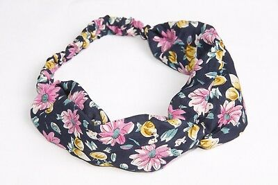 Navy Blue Knot Front Girly Headband W Pink Yellow & Green Floral Print (s140)