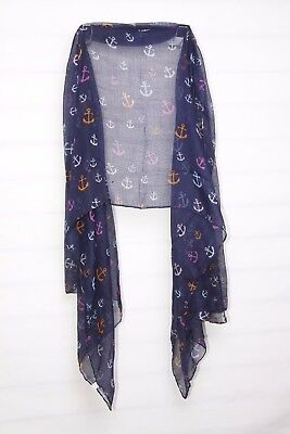Navy Lilac Orange  Magenta & Baby Blue Anchors Print Sheer Large Scarf (S206)