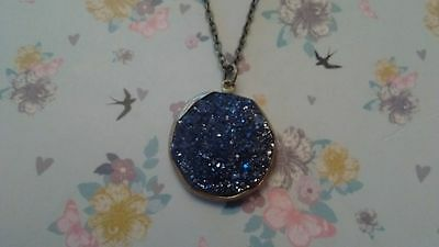 Wrapped Titanium Crystal Drusy Pendant Necklace.