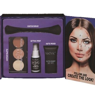 Make-up Kollektion CONTOUR KIT Grundierung+Konturpuder+Pinsel+Fixspray WoW