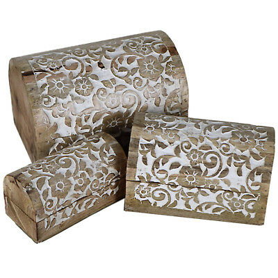 Set of 3 Floral Motif Chest Wooden Carving Carved Wood Rustic Domed Box CH-02