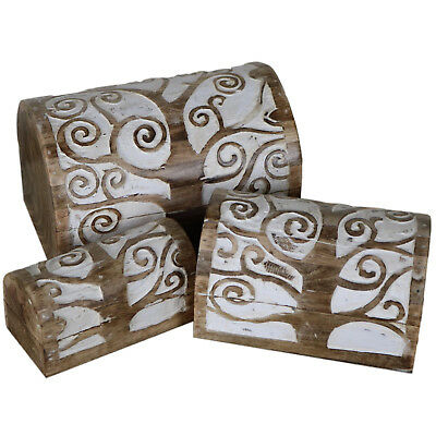 Set of 3 Tree of Life Chest Wooden Carving Carved Wood Rustic Domed Box CH-01