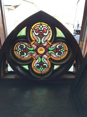 Sg 1572 Incredible Antique Gothic Quadra Foil Stainglass Window