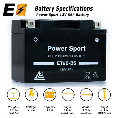 ET9B YT9B-BS High Performance - Maintenance Free - Sealed AGM Motorcycle Battery
