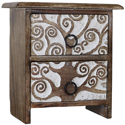 Tree of Life Set of Wood Drawers Carved Wood Wooden Mini Small Jewelry Box 2D-01