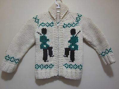 Vtg 70s Mary Maxim Cowichan Toy Soldier PURE Wool CHILD Sweater Jacket Kids 4