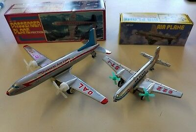 MF-104 & 107 OVERSEAS AIRLINES PASSENGER PLANES Friction Tin Toy NEW OLD STOCK