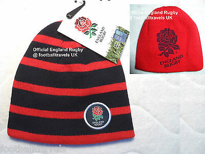 BOYS ENGLAND RUGBY REVERSIBLE BEANIE HAT TOQUE CASQUETTE Scarlet Navy boy