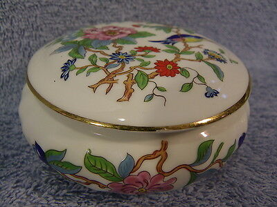 "Aynsley Pembroke 4"" Round Trinket Box-Gold Trim"