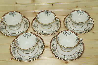 """Gorham Grand Motif (5) Footed Cups 2 3/8"""" & (8) Saucers 6"""""""
