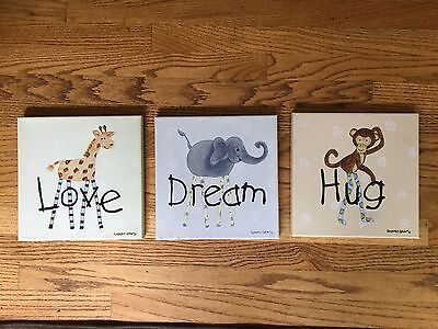 Canvas Prints - 3 piece animal themed wall art for nursery /  childs room