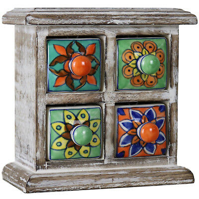 4 Drawer Ceramic Desktop Chest of Drawers Jewellery Wood Wooden Cabinet Colour