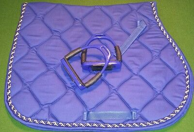 "Saddle Pad & Flexi Stirrups 4.5"" - Colour Blue. Premium quality."