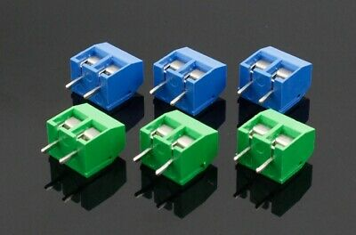 2~10PCS 2 PINS PCB Screw In Terminal Blocks Connector 5mm Pitch - GREEN or BLUE