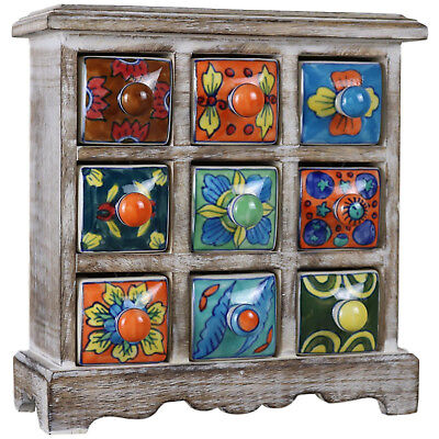9 Drawer Ceramic Desktop Chest of Drawers Jewellery Wood Wooden Multicolour