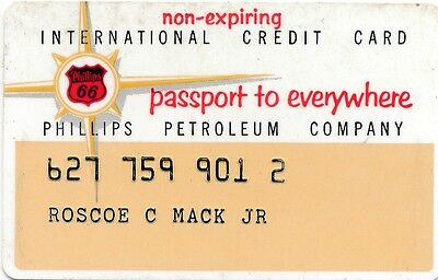Phillips 66 International Credit Card dated July 1958 - nice condition scarce
