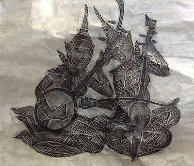 Two Vintage Stone Rubbings Of Thai Musicians By S.Bhandhularp