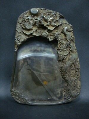 Fine Old Chinese Ink Stone Carving Phoenix Ink Slab Marked ZuoFengYiCheng