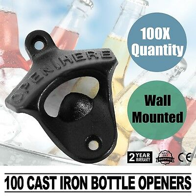 100 Rustic Cast Iron OPEN HERE Wall Mount Mounted Beer Bottle Opener Cap Soda