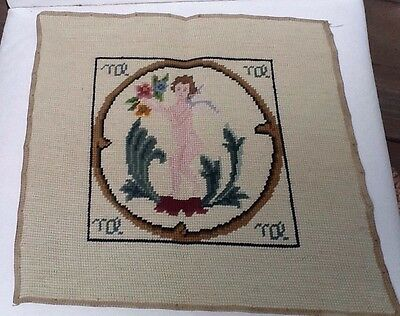 Zodiac Sign Finished Needlepoint Virgo The Virgin Completed Retro Vintage