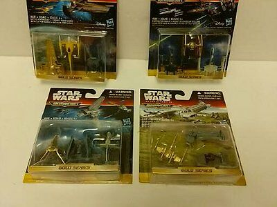 Lot 4 Star Wars MicroMachines Gold Series