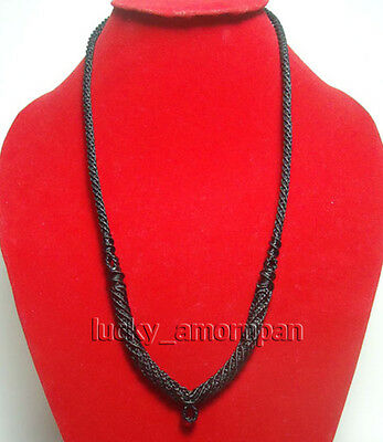 "28"" Necklace Rope Wax Thai Buddhist Amulet Black Handmade Pendent 1 Hook N03"