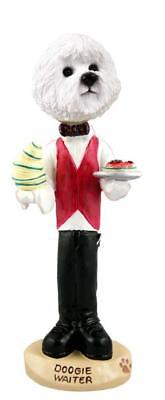 Bichon Frise Waiter  Collectible Resin Figurine Statue