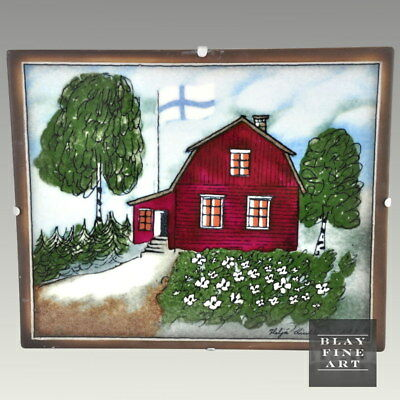 Vintage Arabia Finland Tile Art Wall Hanging Floral Farm House