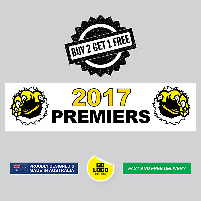 Richmond Tigers Stickers Premiers 2017 Vinyl Decals AFL Grand Final Premiership
