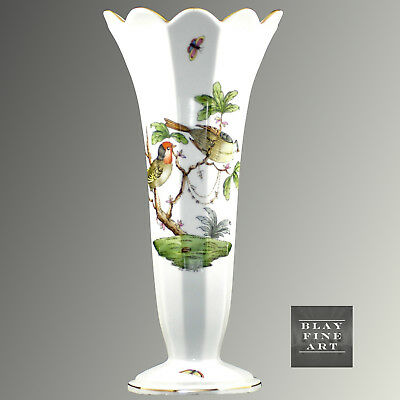 Herend Rothschild Bird Hungarian Vase Hand Painted Tall Porcelain Butterfly