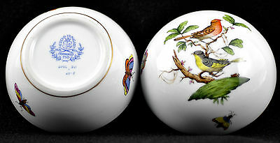 HEREND Rothschild Bird Trinket Jewelry Lidded Box Hungarian Large Round