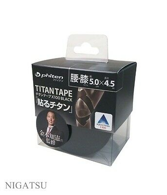 NEW Phiten titanium tape X100 black 5.0cm × 4.5m  from JAPAN