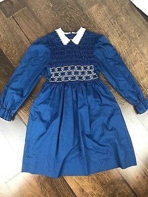 Polly Flinders Girl's Blue Ruffle Dress Size 10 Vintage Polyester/Cotton