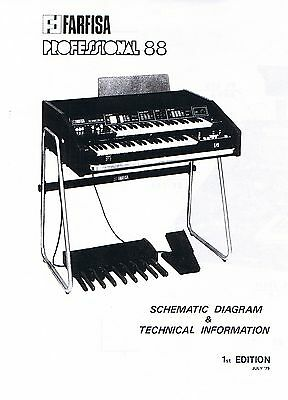 Service Manual w-Schematic Diagrams for the FARFISA PROFESSIONAL 88 Combo Organ