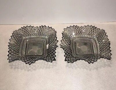 Vintage Glass Candy Dish Set Of Two