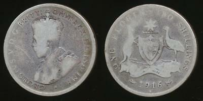 Australia, 1916(m) Florin, 2/-, George V (Silver) - Well Circulated