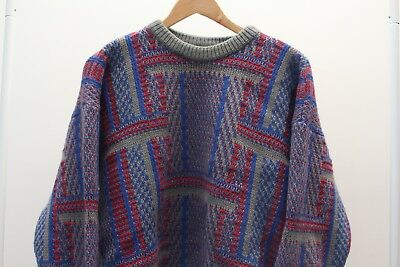 Vintage CUGGI Woolen Jumper Red & Gray | Medium