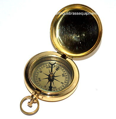 Antique Vintage Meritime Brass Push Button Compass In Pocket Style-Best Gift