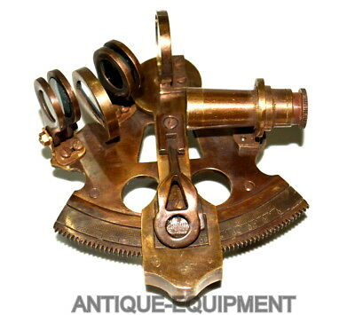 "Vintage Brass Nautical 4"" Sextant Ship Astrolabe Sextant Brown Antique Good Gift"
