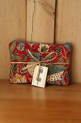 William Morris Strawberry Thief Fabric Small Bag Purse Cosmetic Pouch Red
