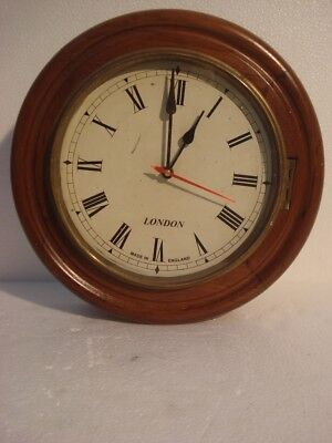 LARGE - Vintage Style  LONDON Wall Clock - Wooden & Brass (2797)